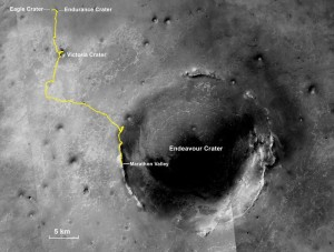 Opportunity path om Mars 26+ miles