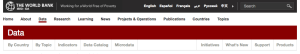 World Bank web site navigation