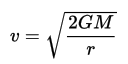 Equation - Escape velocity