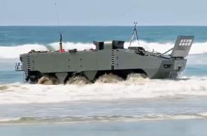SAIC Terrex 2 landing on beach