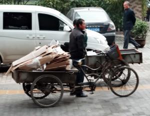 Cargo bike with cardboard