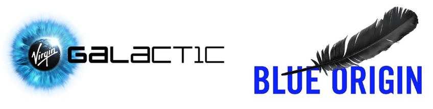 Los dos logos de Blue Origin y Virgin Galacitc